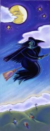 beautiful witch on broom